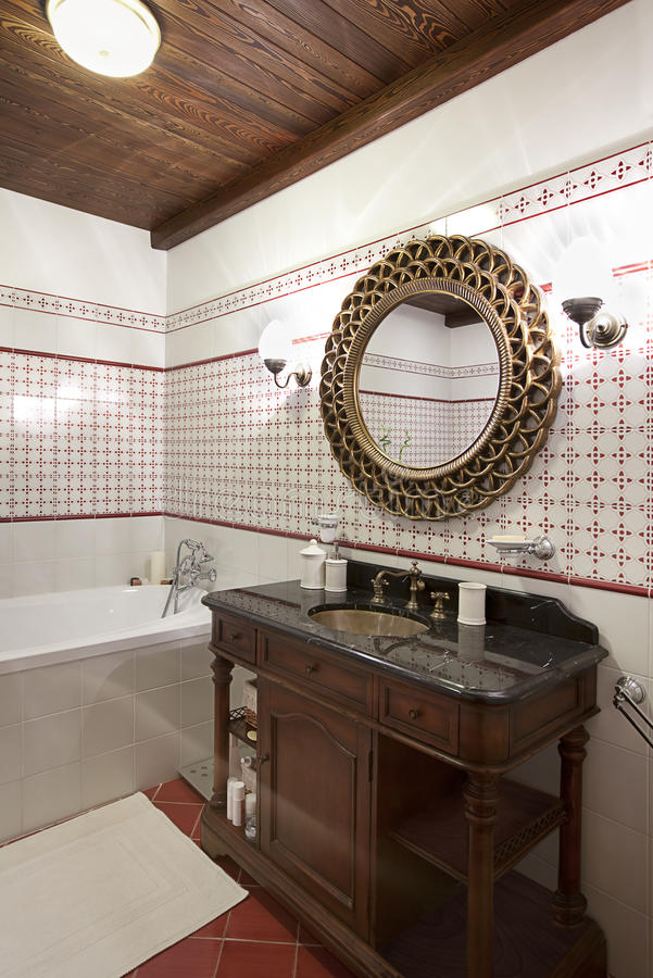 Interior of a bathroom stock photo