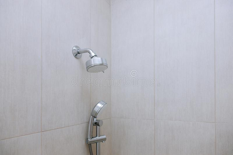 Interior of bathroom with modern shower head in bathroom royalty free stock image