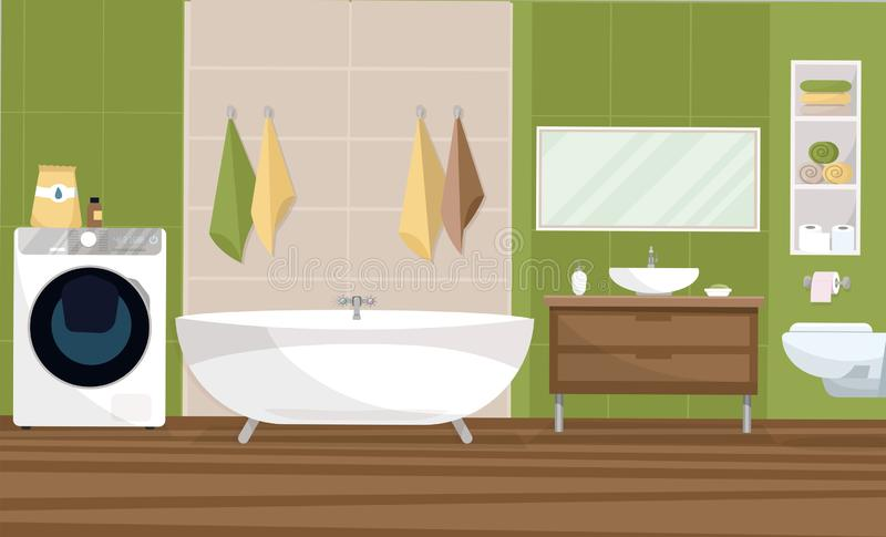 Interior bathroom in a modern style design with a tile of 2 colors green and beige. Bathtub, sink stand, hanging toilet, shelf stock illustration