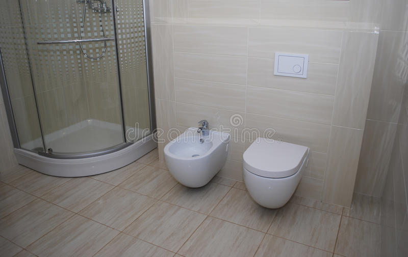 Modern Bathroom With Toilet And Bidet Stock Image