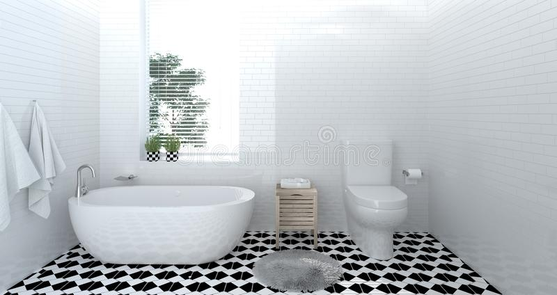 Interior bathroom ,toilet,shower,modern home design 3D Illustration for copy space background white tile bathroom royalty free illustration
