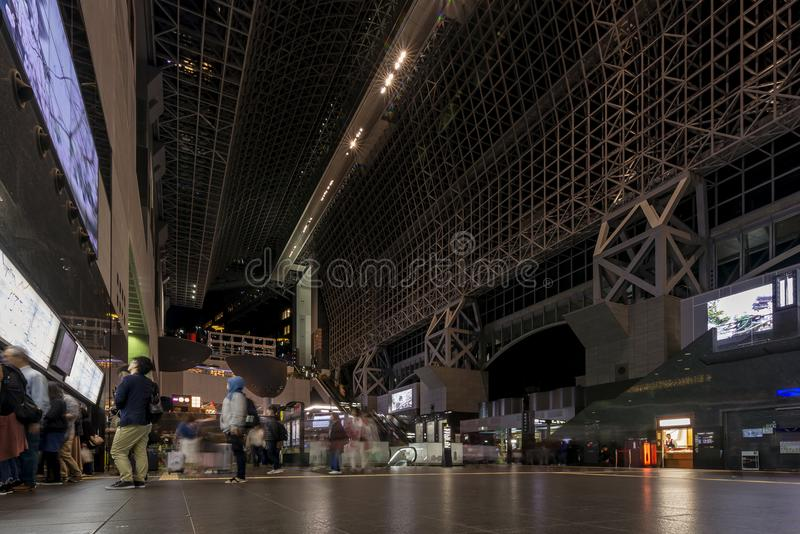 The interior of the beautiful Kyoto train station at night, Japan royalty free stock images