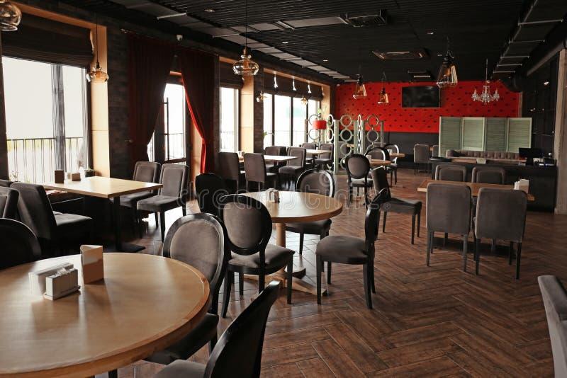 Interior of beautiful modern restaurant stock images