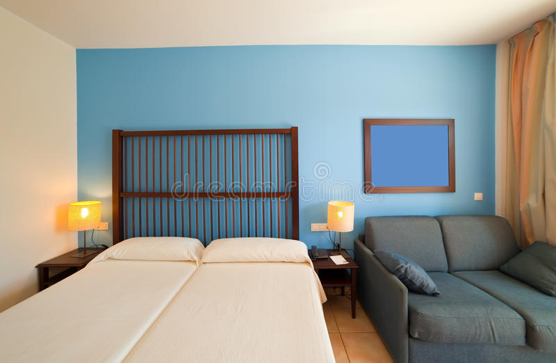 Interior of bedroom. With double bed stock images