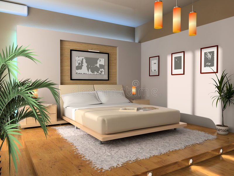 Interior Of A Bedroom Stock Images