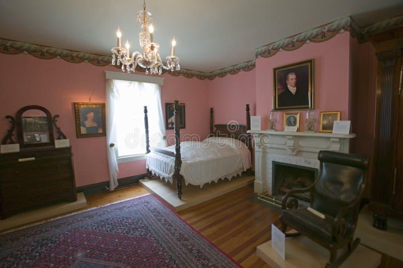 Interior bedroom of Ash Lawn-Highland Home of President James Monroe, Albemarle County, Virginia royalty free stock photos