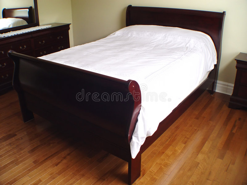 Interior of Bedroom with Bed stock image