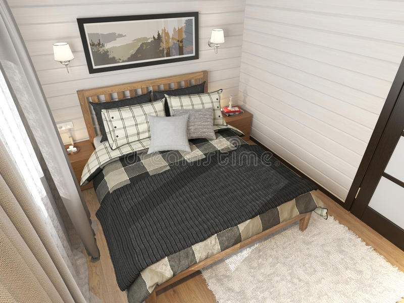 Interior bedroom country house stock photo
