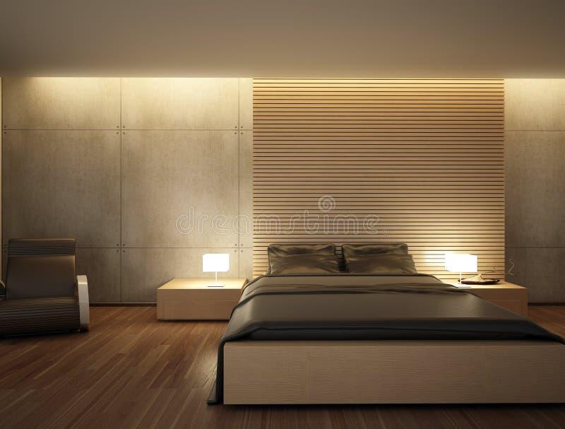 The interior of the bedroom is a modern bedroom design bed cozy bedroom in dark tones.  stock illustration
