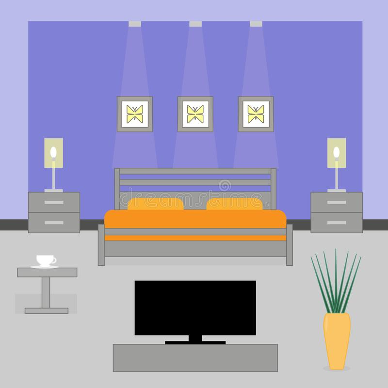 Interior of a bedroom with TV stock illustration