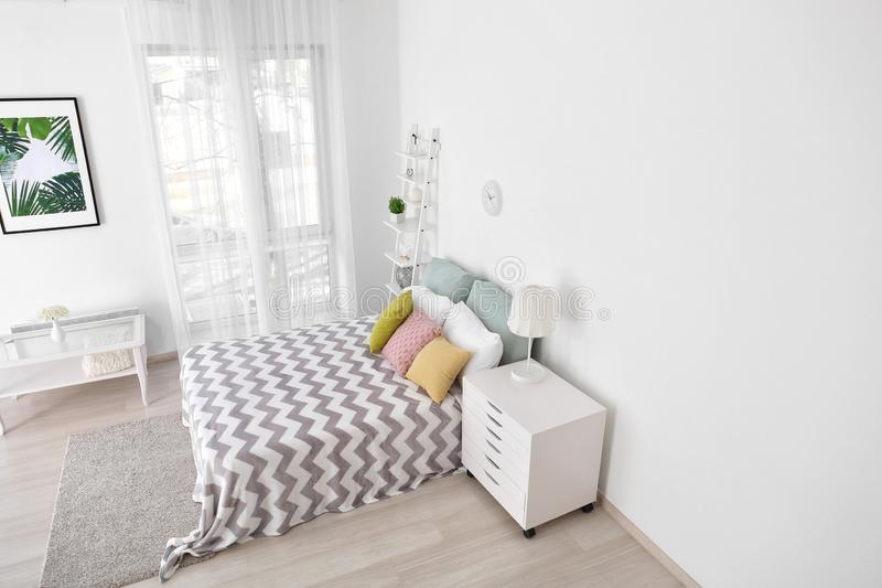 Interior of bedroom, view from CCTV camera royalty free stock photos