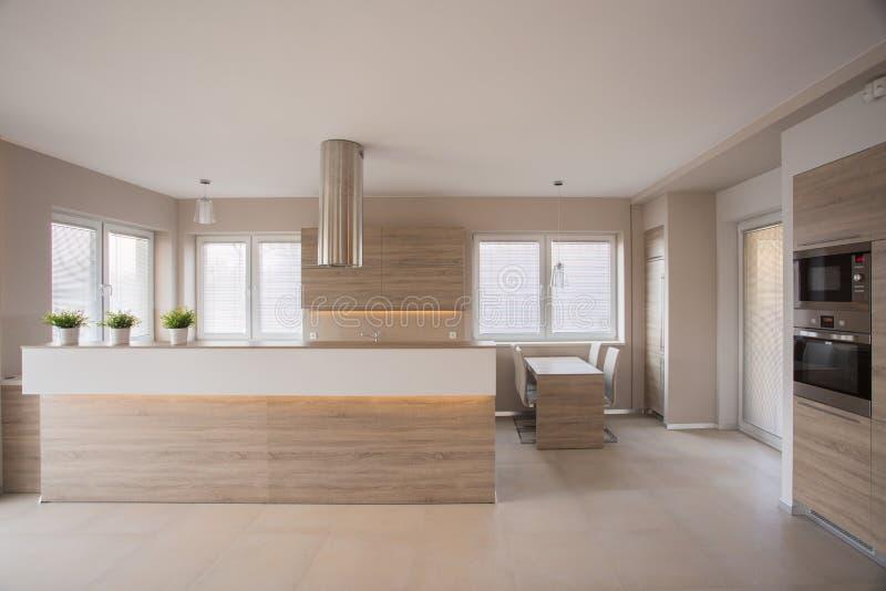 Interior bege da cozinha fotografia de stock royalty free