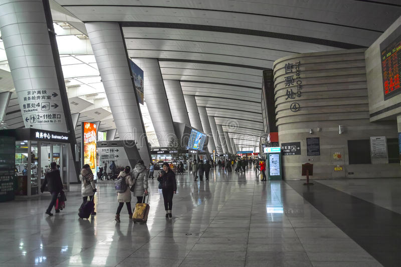 Interior of Beijing Railway South Station royalty free stock photo