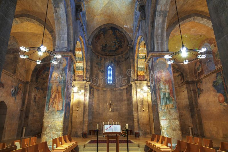 Interior of the Benedictine monastery of the Resurrection in Abu Ghosh stock image