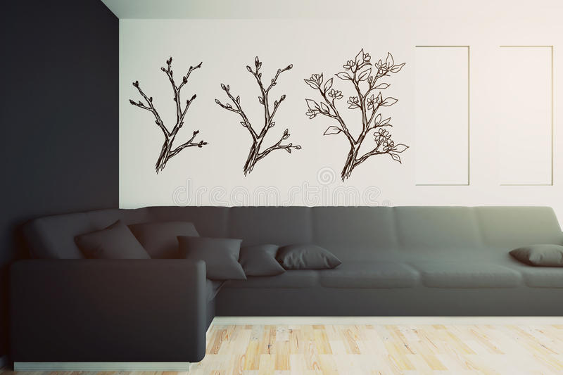 Interior with black sofa and drawn trees vector illustration