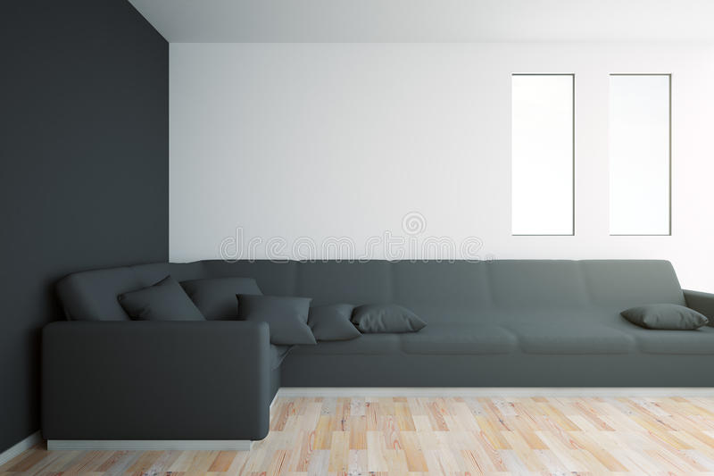 Interior with black sofa. Black interior with large sofa, windows, wooden floor and blank wall. Mock up, 3D Rendering vector illustration