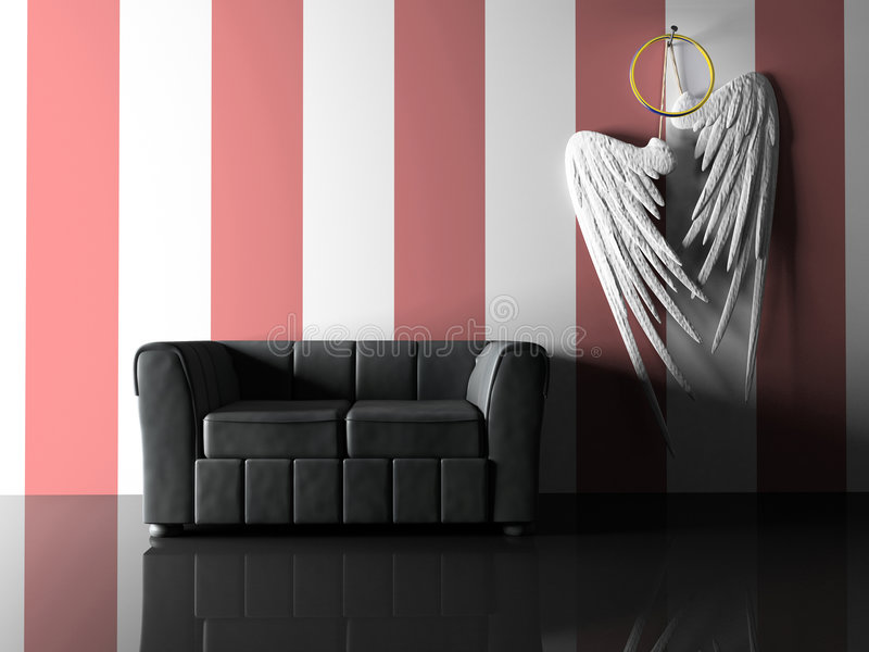 Interior with black sofa and pair wings royalty free illustration