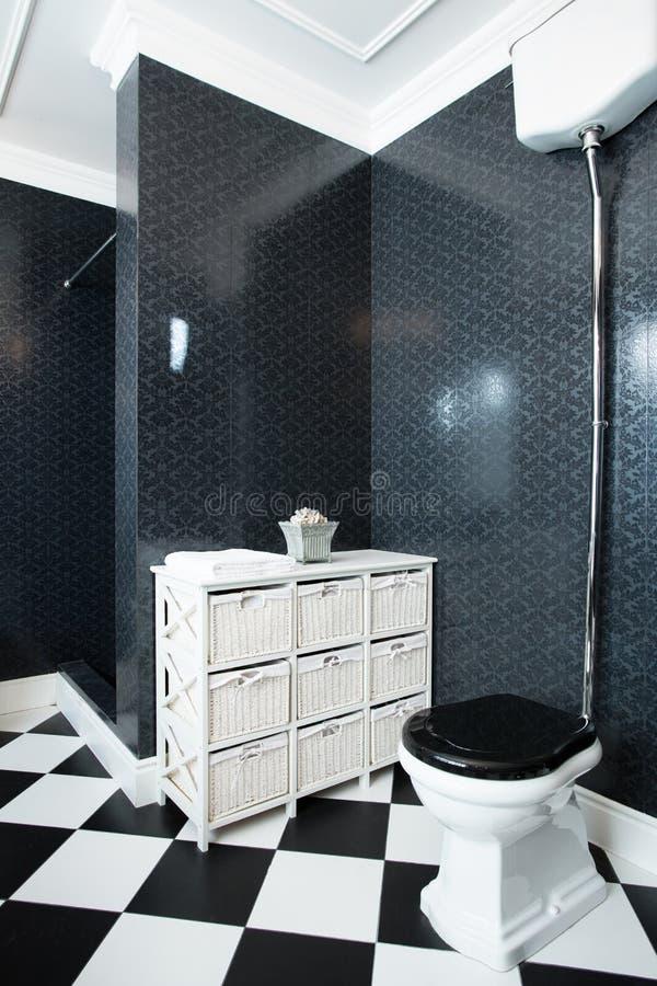 Interior of black and white bathroom royalty free stock photos