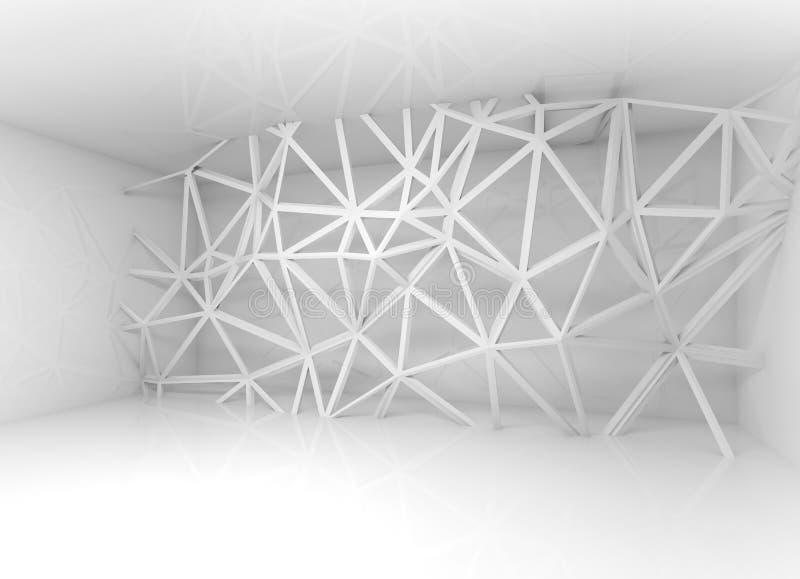 Interior blanco abstracto con la construcción del marco del alambre 3d ilustración del vector