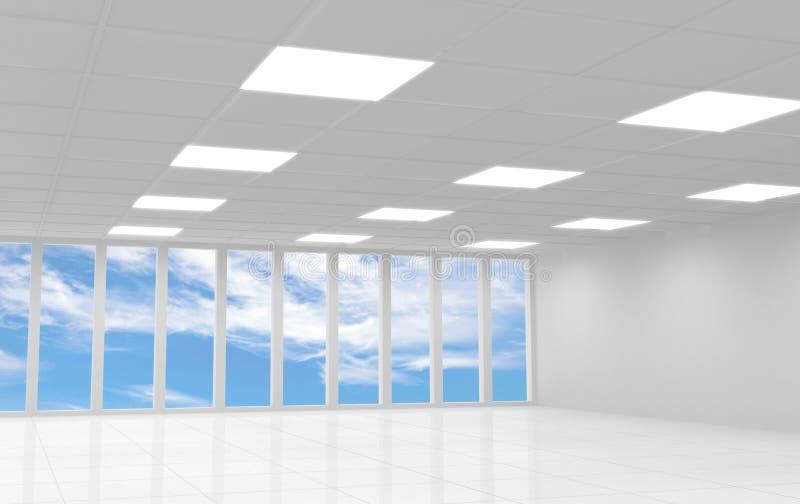 Interior blanco abstracto de la oficina 3d con el cielo azul stock de ilustración