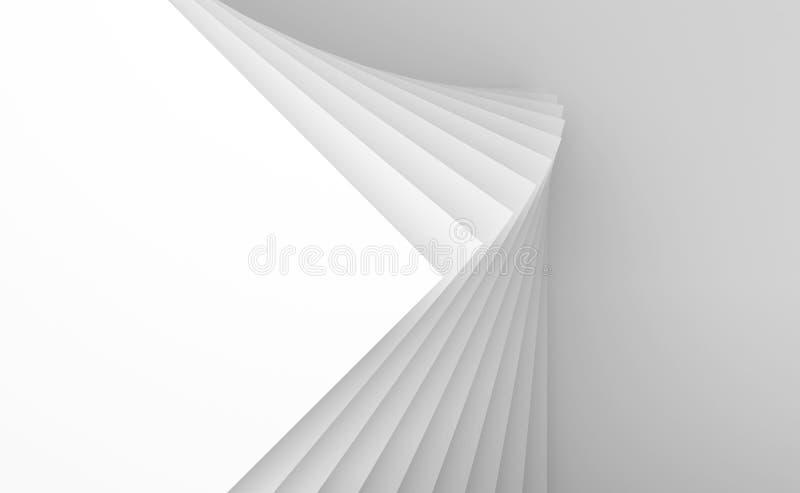 Interior blanco abstracto, modelo geométrico 3d ilustración del vector