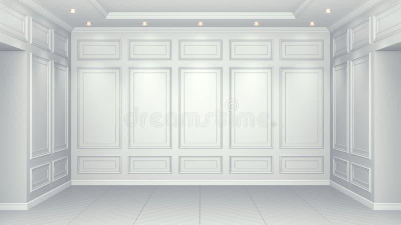 Interior blanco clásico con el espacio de la copia Paredes rojas con la decoraci?n cl?sica Raspa de arenque del entarimado del pi stock de ilustración