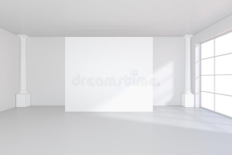 Interior blanco con la cartelera vacía en la pared Mofa para arriba, representación 3D libre illustration