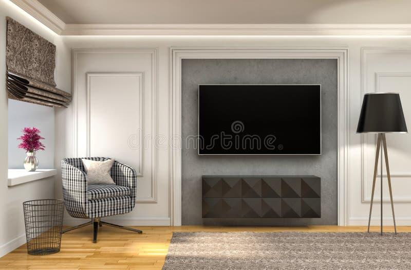 Interior blanco con la silla y las cortinas marrones ilustración 3D ilustración del vector