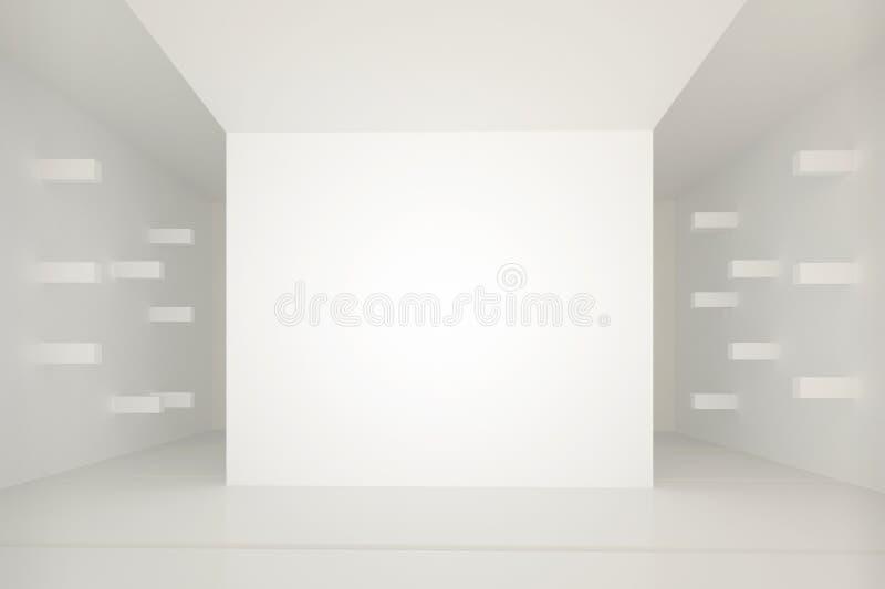 Interior blanco con los elementos sacados horizontales de la pared ilustración del vector