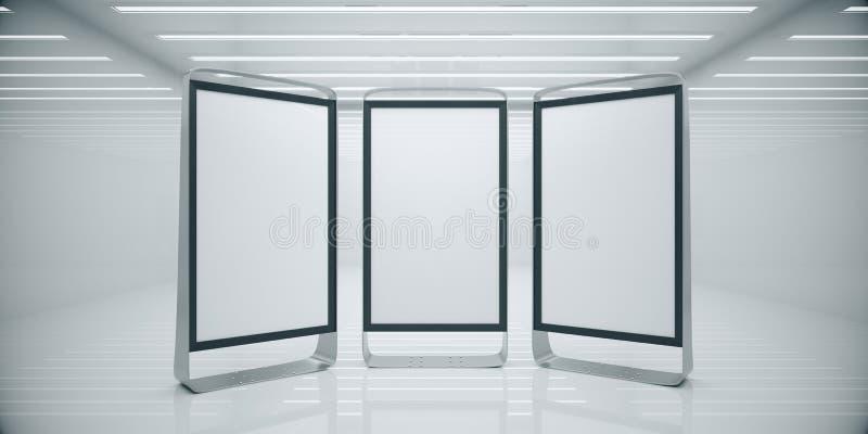Interior blanco con los soportes vacíos del anuncio ilustración del vector