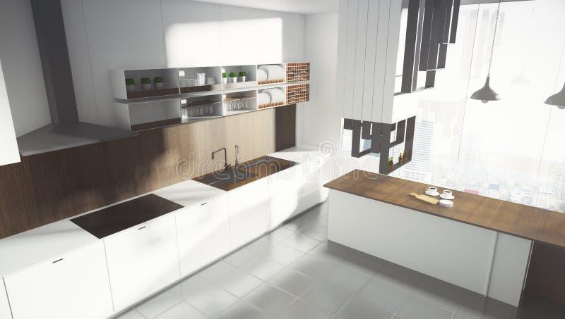 Interior blanco contemporáneo de la cocina libre illustration