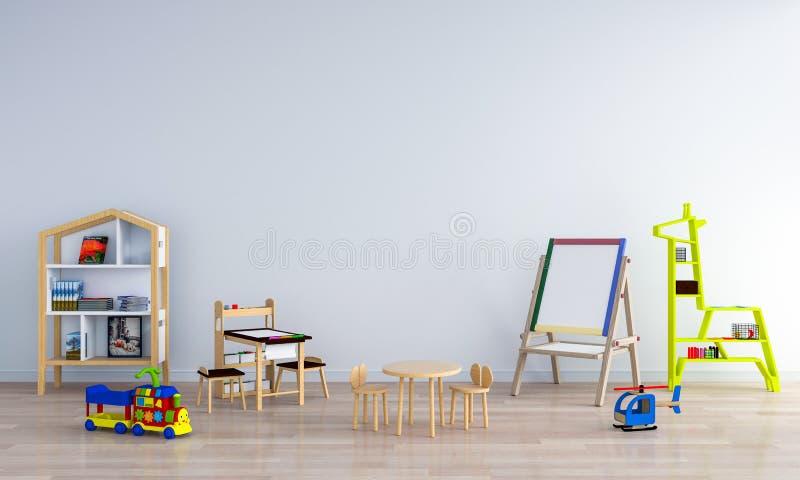 Interior blanco de la habitación del niño para la maqueta, representación 3D stock de ilustración