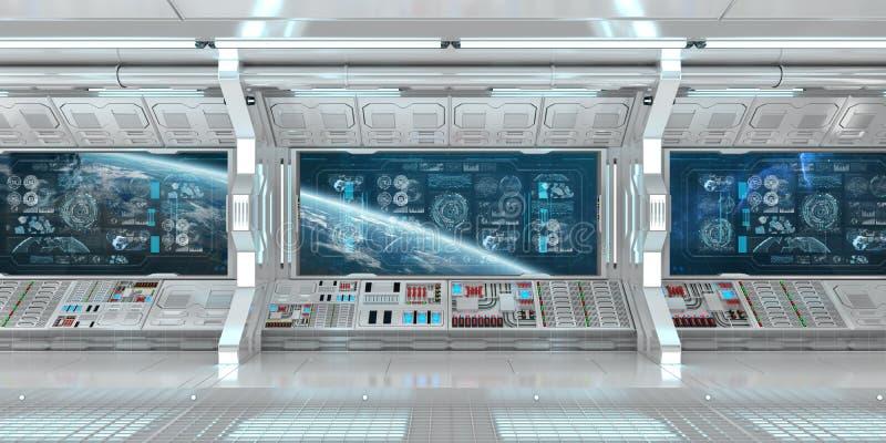 Interior blanco de la nave espacial con las pantallas digitales 3D r del panel de control  stock de ilustración