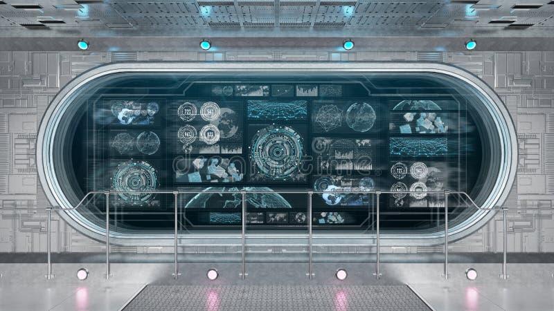 Interior blanco de la nave espacial con la representación digital de las pantallas 3D del panel de control  libre illustration