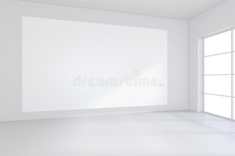 Interior blanco de la oficina con la cartelera vacía en la pared Mofa para arriba, representación 3D stock de ilustración