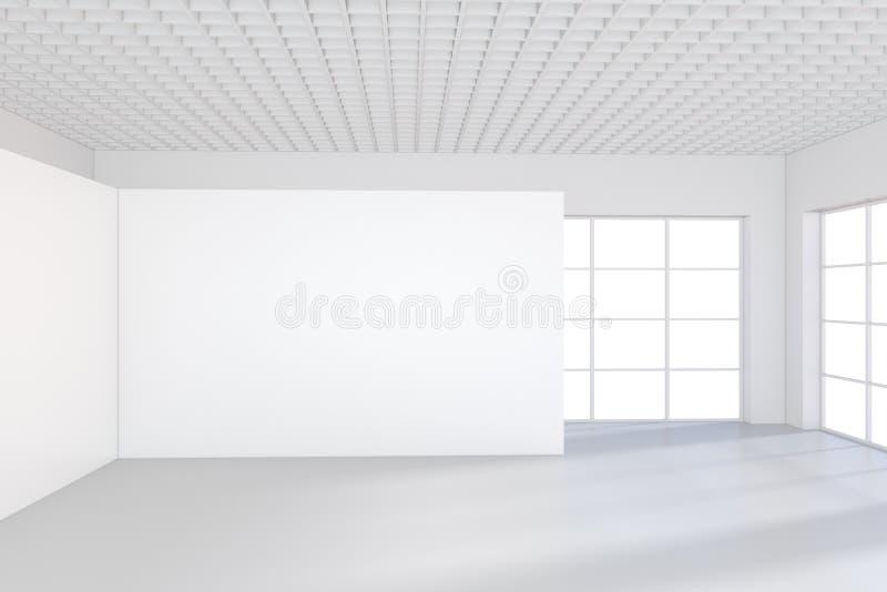 Interior blanco de la oficina con la cartelera vacía en la pared Mofa para arriba, representación 3D libre illustration