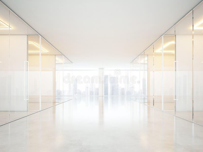 Interior blanco de la oficina con las ventanas panorámicas imagenes de archivo