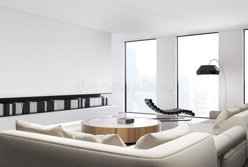 Interior blanco de la sala de estar ilustración del vector
