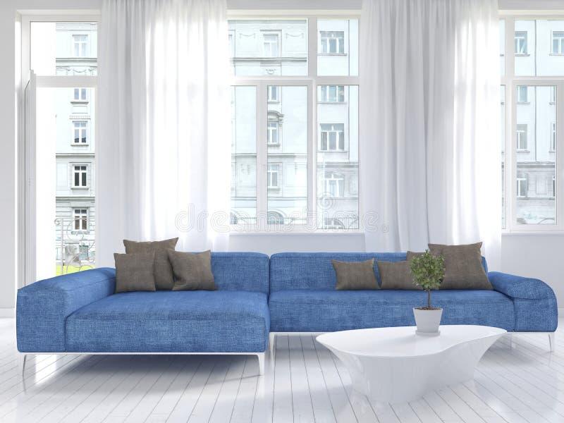 Interior blanco de la sala de estar con el sofá azul fotografía de archivo