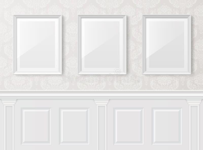 Interior blanco de la vendimia con ilustración del vector
