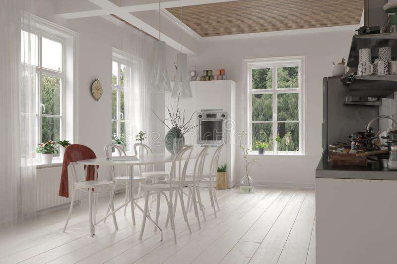 Interior blanco de plan abierto de la cocina y del comedor ilustración del vector