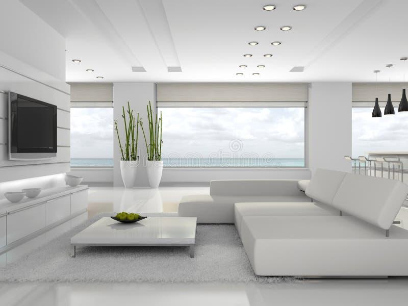 Interior blanco del apartamento ilustración del vector
