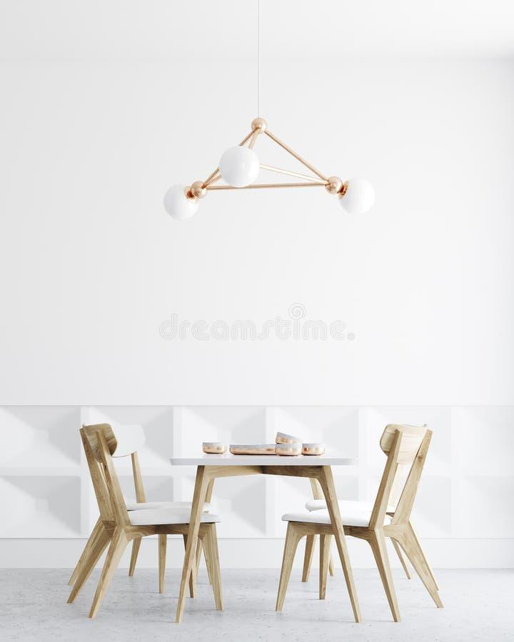 Interior blanco del comedor, lámpara ilustración del vector