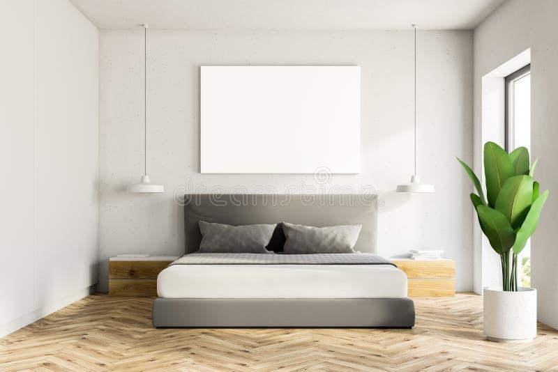 Interior blanco del dormitorio, cartel libre illustration