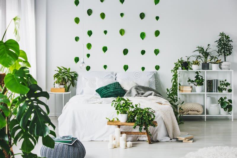 Interior blanco del dormitorio con la cama gigante con las almohadas y la manta, la selva urbana y las hojas verdes en la pared foto de archivo libre de regalías