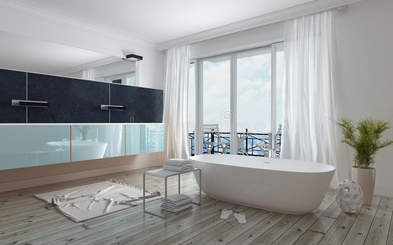 Interior blanco espacioso moderno del cuarto de baño imagen de archivo libre de regalías