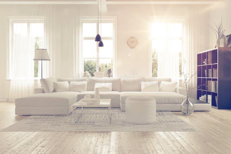 Interior blanco espacioso moderno del salón ilustración del vector