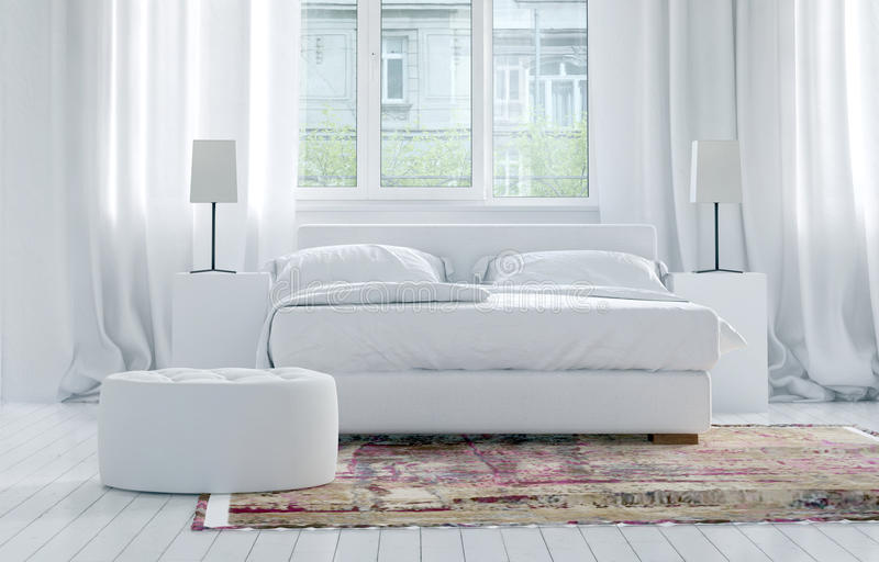 Interior blanco monocromático de lujo del dormitorio stock de ilustración