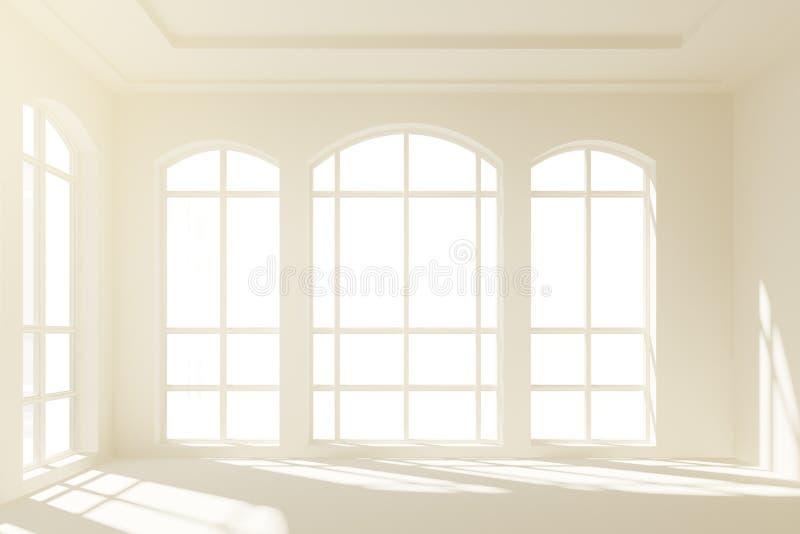 Interior blanco soleado del desván con las ventanas grandes ilustración del vector