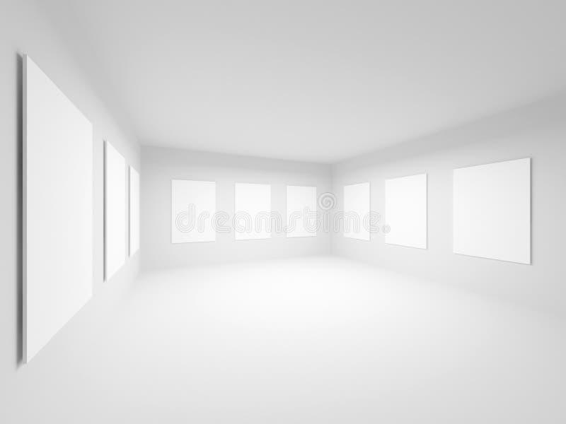 Interior blanco vacío del pasillo de la galería de arte ilustración del vector